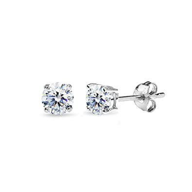 185cbe842 Sterling Silver 4mm Round Solitaire Stud Earrings Made with Swarovski  Zirconia