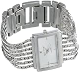 Anne Klein Women's 10-7209SVSV Diamond Accented Silver-Tone Bracelet Watch