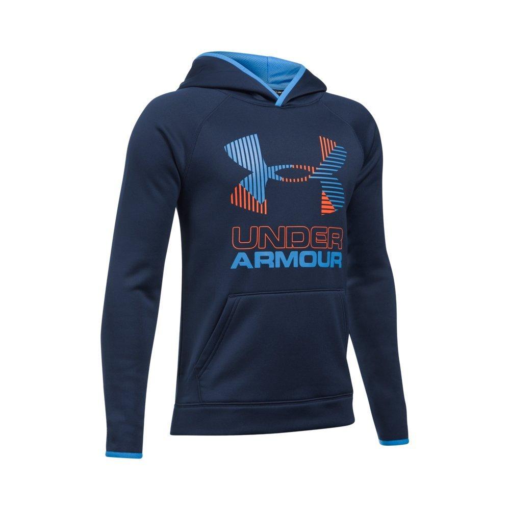 Under Armour Boys Scary Good Armour Fleece Solid Big Logo Hoodie, Navy/Mako Blue, X-Small / 7 Big Kids