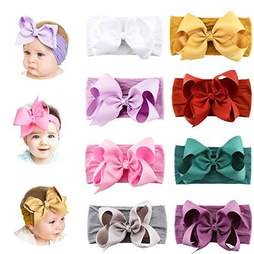 Makone Handmade Stretchy Nylon Headband with Bows Pom Pom Bun 5.5 inch Big Hair Bow Headband for Infant Baby Girls (Headbands For Buns)