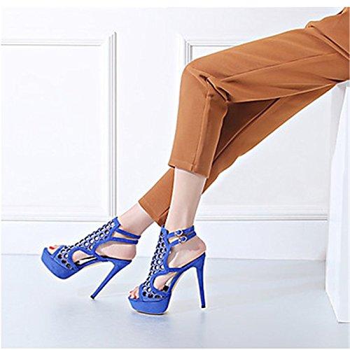 YFF Sandales femmes Talon Stiletto Similicuir Rhinestone Buckle,bleu,US7.5