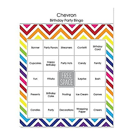 Amazon Chevron Rainbow Birthday Party Game Bingo Cards 16