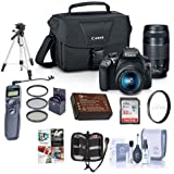 Canon EOS Rebel T6 DSLR 2 Lens Camera Kit with EF-S 18-55mm f/3.5-5.6 IS II, 75-300mm F4-56 III Lenses - BUNDLE w/Camera Bag, 32GB SDHC Card, 58mm Filter Kit, Remote Shutter, Software Pack and More