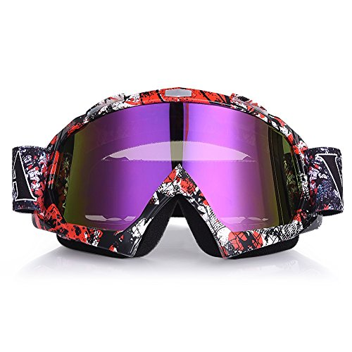 Uarter Motorcycle Goggles Ski Goggles Adjustable UV Protective Eyewear Outdoor Wind Glasses with Camouflage Lenses for Winter