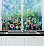 Ambesonne Watercolor Flower Home Decor Kitchen Curtains, Dandelion Seeds in Air Splashes Pollination Time Mother Earth Print, Window Drapes 2 Panels Set for Kitchen Cafe, 55 W X 39 L Inches, Multi Review