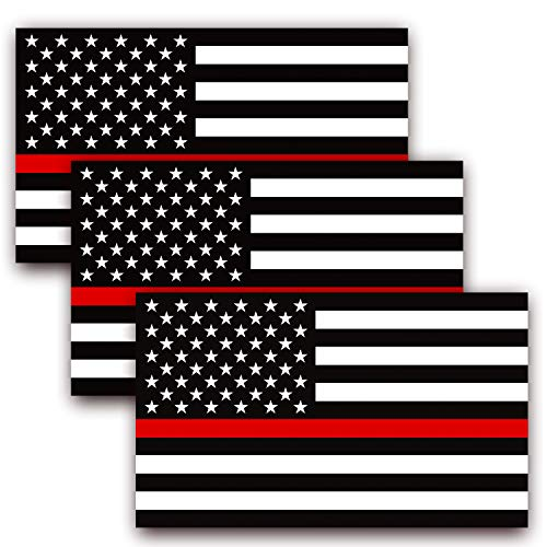 Anley 5 X 3 inch Thin Red Line US Flag Decal - Black White and Red Reflective Stripe American Flag Car Stickers - Support Firefighters and EMTs (3 Pack)