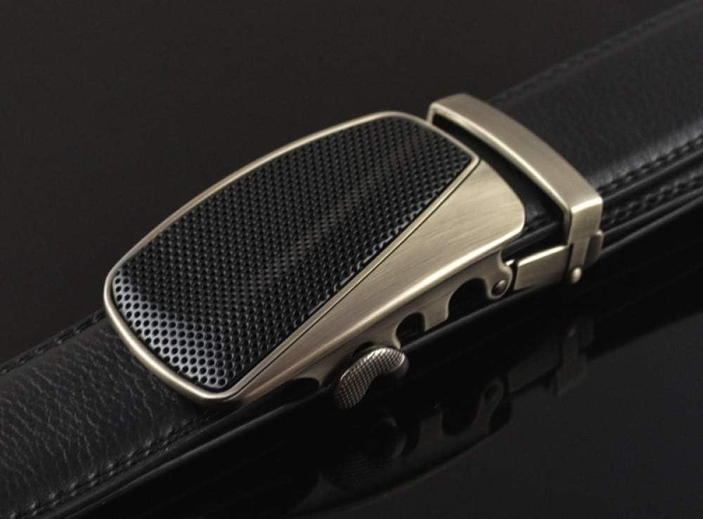 DENGDAI Mens Belt Automatic Buckle Belt Leather Belt Length 110-130cm