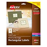 Avery 3 x 3.75 Inches Print-to-the-Edge Rectangular Labels, Pack of 48, Pearlized Ivory (22823)