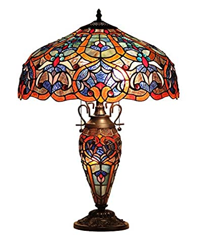 Chloe Lighting CH33473BV18-DT3 Sadie Tiffany-Style Victorian 3-Light Double Lit Table Lamp with 18-Inch - Mission Double Shade Table Lamp