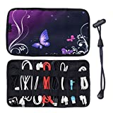 iColor Durable Computer Accessories Organizer, Makeup Brush Organizer, Roll Up Jewelry Organizer, Travel Organizer, Cable Holder Case, Pencil Case - Portable Electronic Cable / Cord Management System