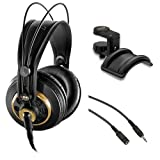 AKG K 240 Studio Professional Semi-Open Stereo Headphones with Auray Headphone Holder and 25' Extension Cable
