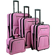 Rockland Luggage Skate Wheels 4 Piece Luggage Set, Pink, One Size