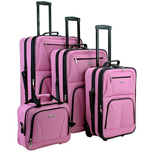 (Rockland Luggage Skate Wheels 4 Piece Luggage Set, Pink, One Size)