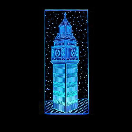 Halloween Cinema Night London (3D Big Ben Vision Night Light Colorful London Building Elizabeth Tower Table Lamp Bedroom Decorating Bedside Table Baby Sleep Lighting)