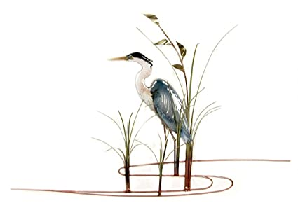 amazon wall art great blue heron metal wall sculpture left