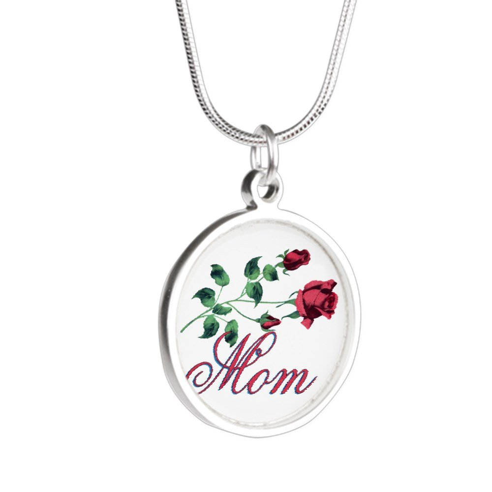 Royal Lion Silver Round Necklace Mom with Roses for Mothers Day