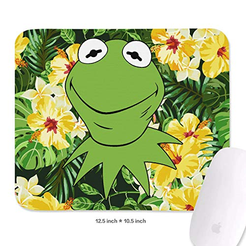 Womens Students 10.5 x 12.5inchs Green-Smile-Frog-Wrist Rest with Black Anti Slip Rubber Base Premium-Textured 3mm Thick Cute Keyboard Mousepad Mat for Laptops -