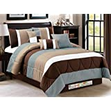 7-Pc Modern Striped Pleated Quilted Comforter Set Coffee Brown Taupe Blue Off-White Queen