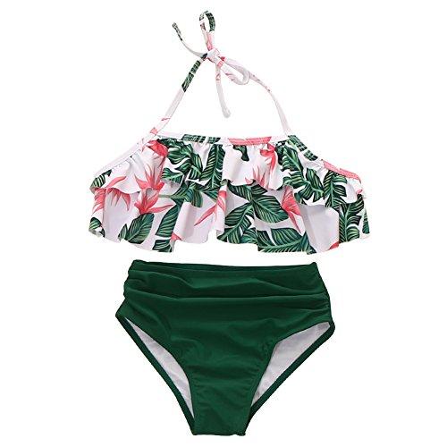 Girls Swimsuit Falbala High Waisted Bikini Set Halter Neck Swimwear Dots Printing Bathing Suits -