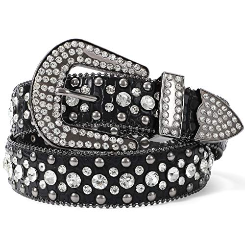 Fashion Rhinestone Belt for Women for Jeans, Western Cowgirl Studded Leather Belt, Ladies Bling Rhinestone Belt, Bling Rhinestone Belt for Women Cowgirl, Black Rhinestone Belt, Fit Pants Size 39