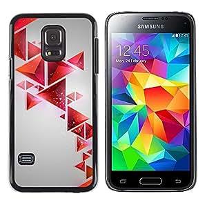 TopCaseStore / la caja del caucho duro de la cubierta de protección de la piel - Polygon Red Gray Shapes Pattern - Samsung Galaxy S5 Mini, SM-G800, NOT S5 REGULAR!