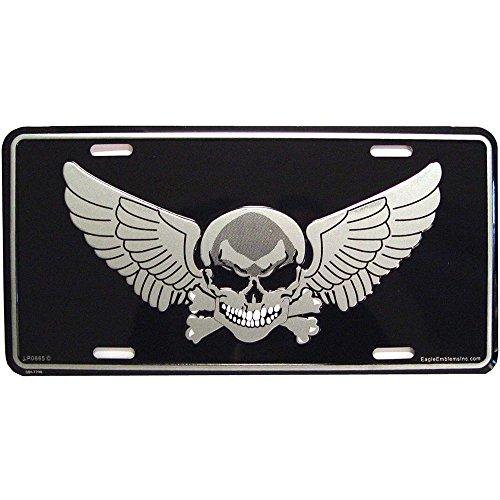 (Skull & Crossbones with Wings License Plate)