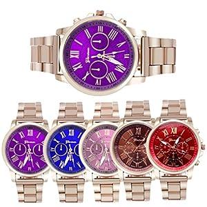 Han Shi Wristwatch, Unisex Roman Number Stainless Steel Quartz Sports Dial Watch Clock