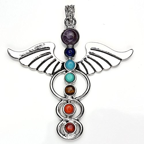 JOVIVI 7 Chakras Natural Quartz Gemstones Beads Pendant Healing Point Chakra Reiki(Angel Wings Style)