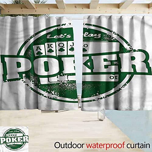 Spice Semi Flush - MaryMunger Darkening Curtains Poker Tournament Royal Flush Grunge Drapes for Outdoor Decor W63x72L Inches