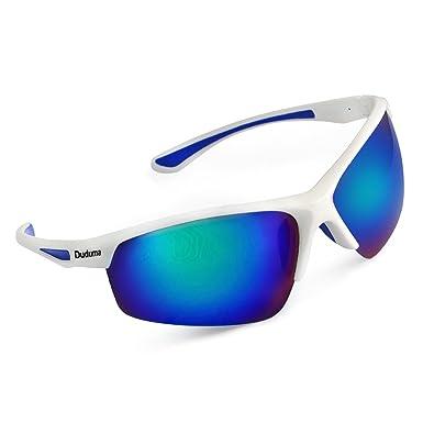e8a35ca562e Amazon.com  Duduma Polarized Sports Sunglasses for Baseball Cycling Fishing  Golf Tr58 Superlight Frame (White Blue)  Clothing