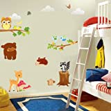 DIY Squirre Owl Bear Animal Tree Wall Stickers Art Vinyl Decal Removable Decor