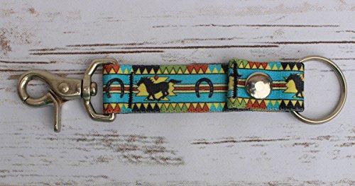 Running Horse Southwestern Keychain - Handy Clip, Snap, Ring Style Key Webbing Fob Keychain