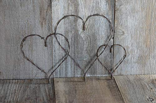 Large, Medium, Small, Set of Three, Rustic Heart, Barbed wire heart, Barb wire, Country Charm meets Shabby Chic, A Piece of the