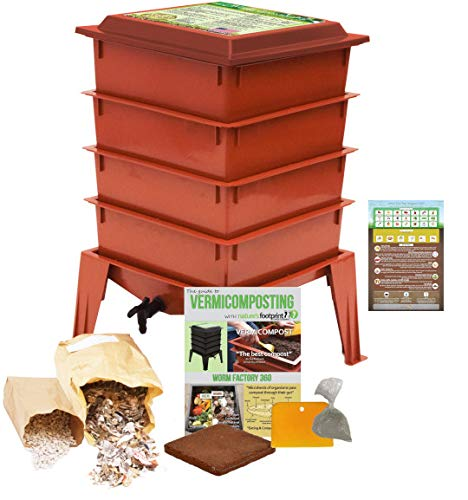 "Worm Factory 360 Worm Composting Bin + Bonus ""What Can Red Wigglers Eat?"" Infographic Refrigerator Magnet (Terracotta) - Vermicomposting Container System - Live Worm Farm Starter Kit for Kids & Adults from The Squirm Firm"