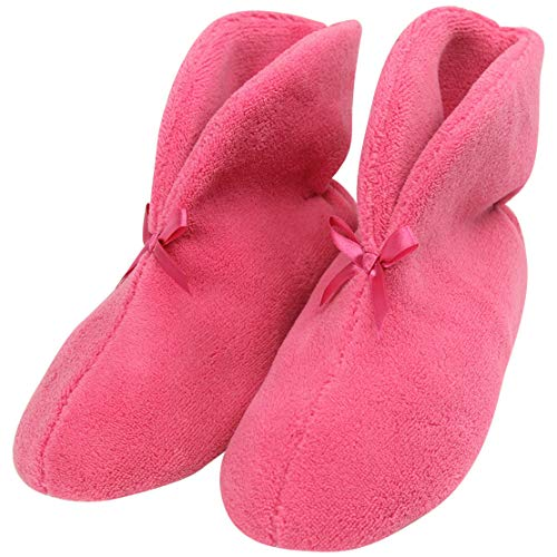 Forfoot House Indoor Slippers Woman's Non-Slip Boots Home Floor Slipper Shoes Rose Red Women Slippers Size 8 ()