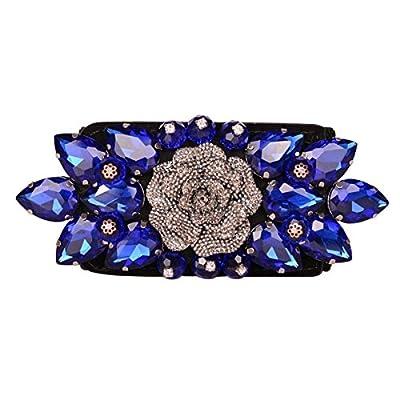 E-Clover Fashion Floral Rhinestone Buckle Women's Elastic Waist Cinch Belt for Dress