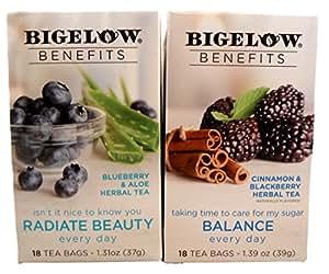 Bigelow Benefits Beauty and Balance Herbal Tea Bundle - 2 Boxes of Tea: One each Radiate Beauty and Balance