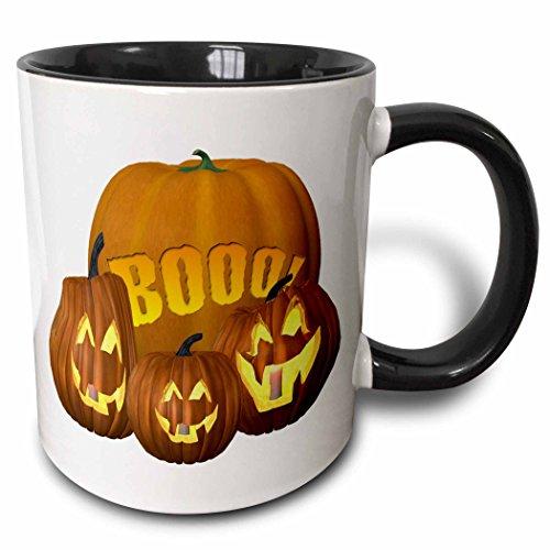 3dRose Blonde Designs Happy and Haunted Halloween - Halloween Boo Pumpkins - 15oz Two-Tone Black Mug -