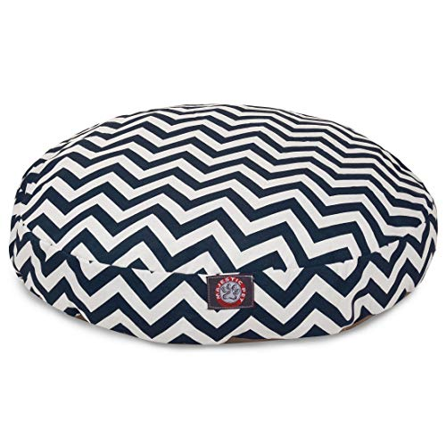 Navy Blue Chevron Medium Round Indoor Outdoor Pet Dog Bed With Removable Washable Cover By Majestic Pet Products