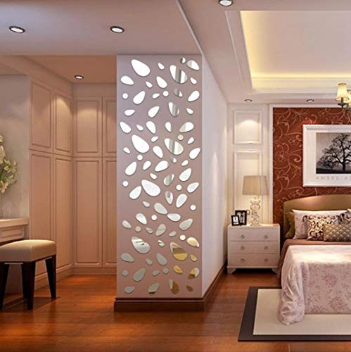 Quartly 12Pcs 3D Mirror Vinyl Removable Wall Sticker Decal Home Decor Art DIY (Silver) ()