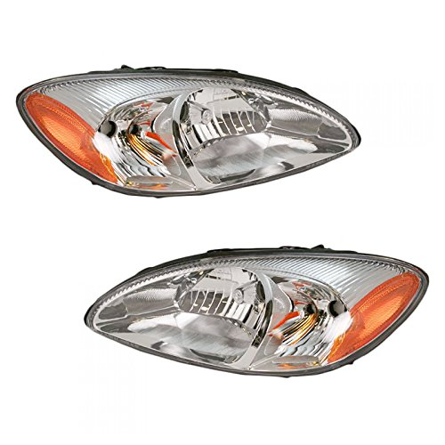 Headlights Headlamps Left & Right Pair Set for 00-07 Ford Taurus