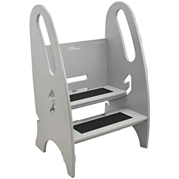 kitchen step stool designs the growing little partners stone grey adjustable height nursery with handle plans folding chair