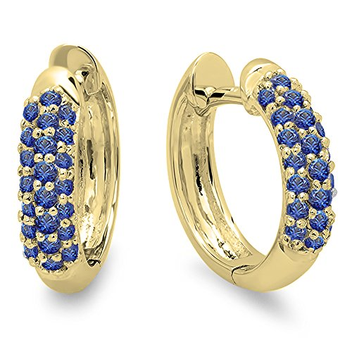 Yellow Gold Clip Earring (0.30 Carat (ctw) 14K Yellow Gold Round Blue Sapphire Ladies Pave Set Huggies Hoop Earrings 1/3 CT)