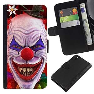 Sony Xperia Z3 D6603 / D6633 / D6643 / D6653 / D6616 , la tarjeta de Crédito Slots PU Funda de cuero Monedero caso cubierta de piel ( Clown Evil Smile Devil Red Eyes Creepy)