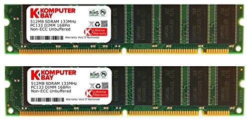KOMPUTERBAY 1GB (2x 512MB) PC133 SDRAM 133MHz 168 pin 3.3v NON ECC DIMM DESKTOP MEMORY- 100% (168 Pin Mac Pc)
