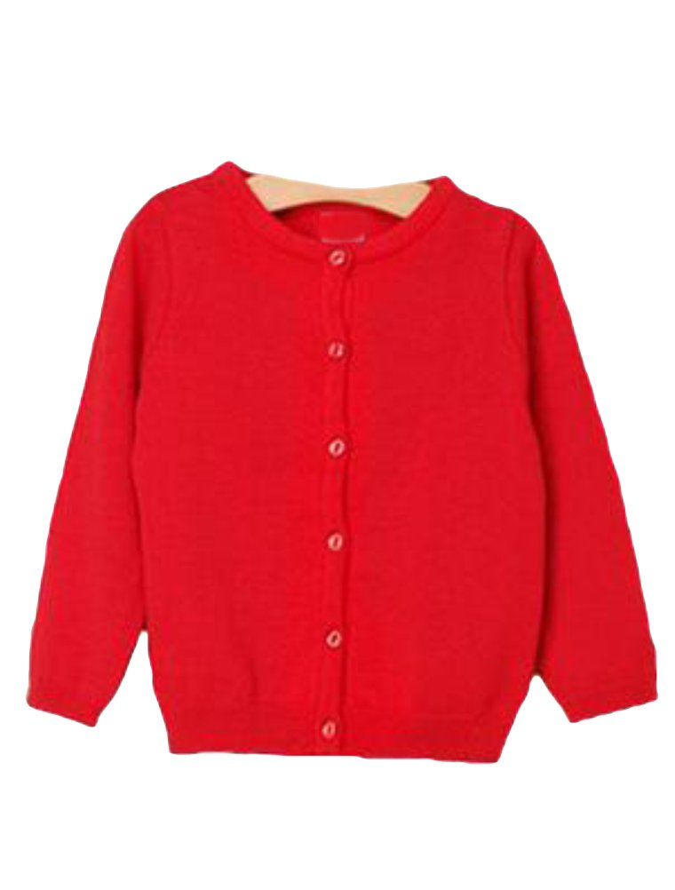 Mallimoda Girl's Long Sleeve Crewneck Button Solid Cardigan Knit Sweaters Red 9-10 Years