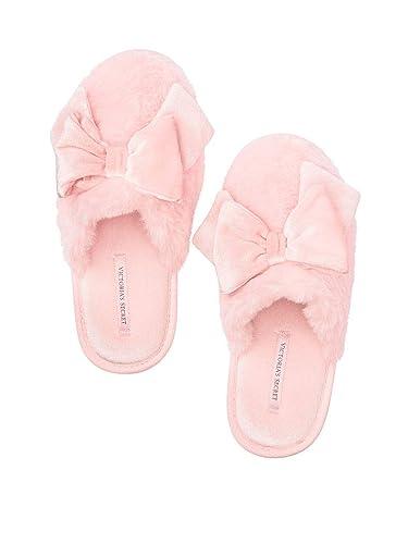 19d8ddf516fd3 Victoria Secret. Sleep Pink Velvet Bow Slippers Slides Large (9/10)