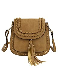 Zicac New Ladies Women Girls Casual Fashion PU Leather Trendy Cute Handbag Rivets Fringe Tassels Purse Small Shoulder Satchel Bag Shopper Cross Body Messenger (Brown)