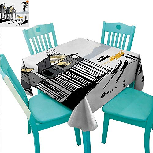 Coastal Washable Table Cloth Sketchy Fishing Village Malay in Singapore with Houses Canoe Palms Sun Print Washable Polyester - Great for Buffet Table, Parties, Holiday Dinner, Wedding & More 60