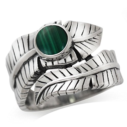 Created Malachite 925 Sterling Silver Bypass BANANA LEAF Ring Size 8 (Sterling Banana Silver)